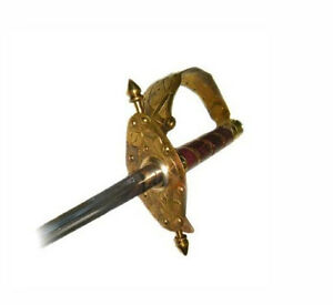 NEW-Brass-Guard-Metal-Blade-Leather-Handle-Musketeer-42-Inch-Epee-Fencing-Sword