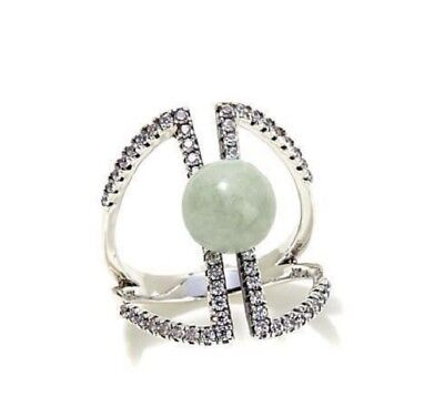 Jade of Yesteryear 0.98ct Green jade Sterling Silver Negative Space Ring Size 9
