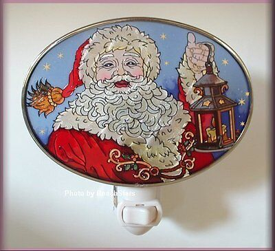Yes, Virginia There Is A Santa Night Light Hand Painted Glass By Amia Free Ship