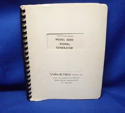 Wavetek Model 3000 Instruction Manual Wschematics