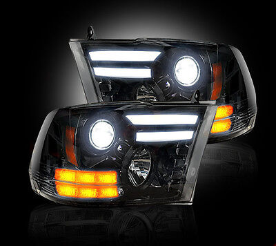 RECON DODGE RAM SMOKED PROJECTOR HEADLIGHTS 13-16 PART# 264276BKC