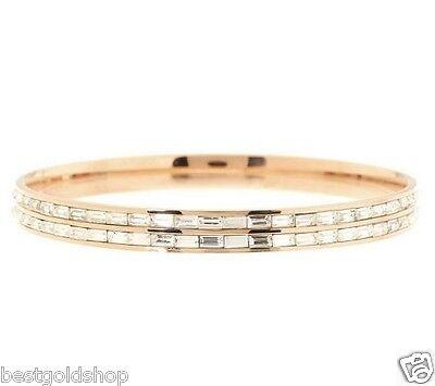 - QVC Channel Set Baguette Eternity Rose Clad Stainless Steel Bangle Bracelet