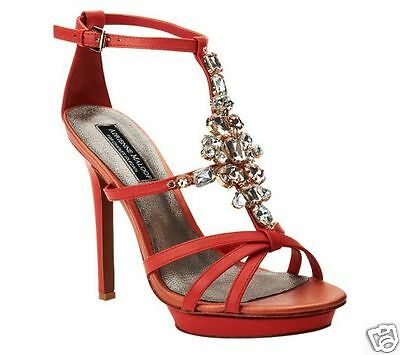 NIB Adrienne Maloof by Charles Jorudan heel leather sandals CORAL PINK shoes 10