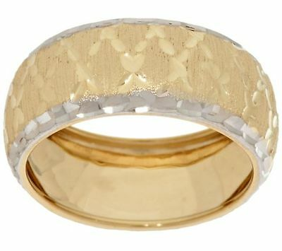 7mm Domed Diamond Cut Band Ring Real Solid 14K TwoTone Gold FREE SHIP QVC Diamond Domed Band Ring