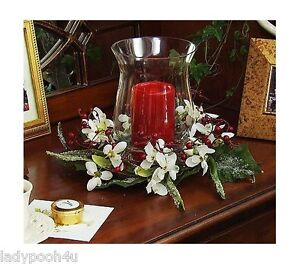 Snowdrops Centerpiece 5 Flameless Candle Holder Christmas