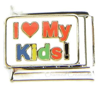 I Love My Kids Colorful 9mm Italian Charm Link For Bracelet Daughter Son ()
