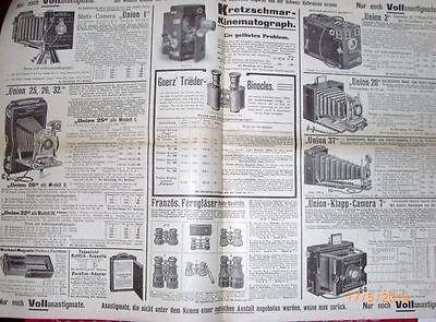 """Reklame Prospekt um 1900 -  Camera Großvertrieb """" UNION """" mit Preisen  /S23"""