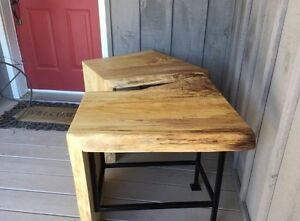 Live edge waterfall tables