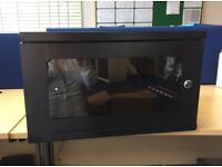 New, black server cabinet with glass door, keys & fixings for wall mounting