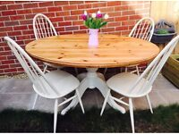 Farmhouse Country Kitchen Table and Ercol Chairs