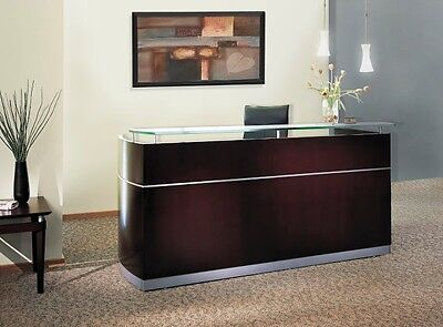 Wood Veneer Napoli Mahogany Reception Desk w/ Frosted Glass Without Drawers