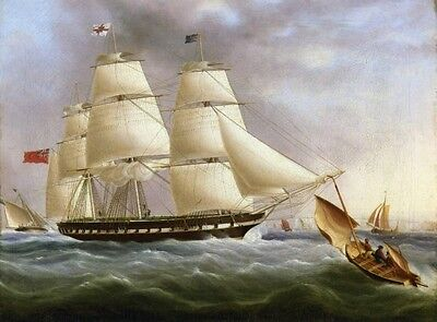 Oil Painting repro James E. Buttersworth  A Three-Masted Ship off Dover (James Buttersworth Ships)