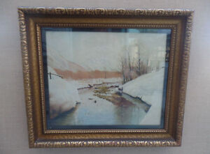 Vintage Winter River Oil Painting By F.Wilcox