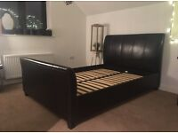 luxury double leather sleigh bed