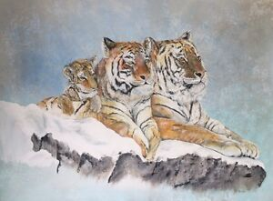 Wildlife Art - Siberian Tigers - Acrylic Painting