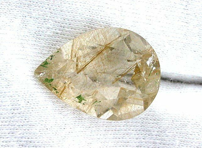 15.90 Carat 21.6mm x 16mm Pear Golden Rutilated Quartz Gemstone Gem Stone ES6326