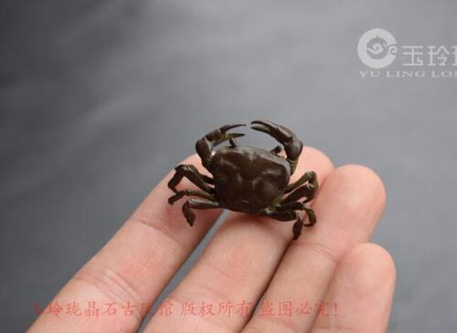 3.5 cm Chinese Vintage Copper Handmade crab statue