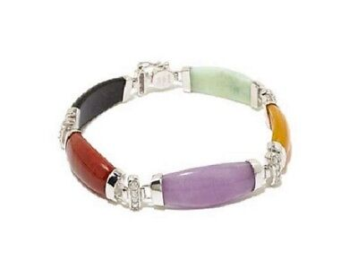 Jade of Yesteryear Colors of jade and CZ Sterling Silver Bracelet