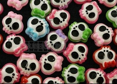 Free Shipping - 30pcs Tattoo Girly Skull Bow Flat Back Cabochons Halloween F721](Girly Back Tattoos)