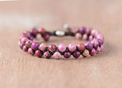 Natural Purple Impression Jasper Gemstone Beaded Stacking Bracelet Shamballa