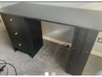 2 desks, swivel chair, sofa