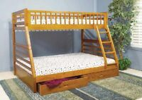 BUNK BED SINGLE-DOUBLE WITH DRAWERS