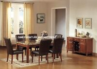 $697 7PCS MARBLE TOP DINING SET