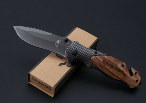 Folding Tactical Pocket Knife Hunting Camping Folding Survival Tool BROWNING X50