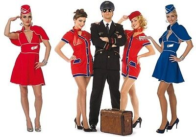 Flugbegleiterin Stewardess Pilot Pilotin Capitan Uniform Kostüm Kleid Damen Sexy