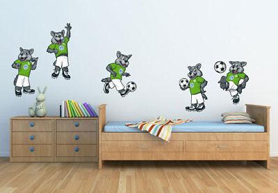 Wandtattoo VfL Wolfsburg Wölfi Set grün Wandaufkleber Wandfolie Klebebild Deko