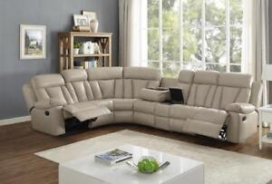 MODERN SECTIONAL WITH CUP HOLDERS | LEATHER SECTIONAL HAMILTON (BD-474)