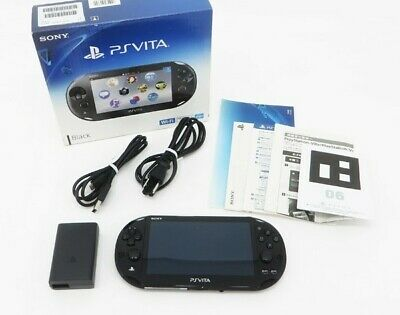 Sony PS Vita Black PCH-2000 Slim w/ Charger and Box From Japan [Near Mint]