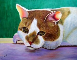 "Original New Oil Painting on Canvas 20""x16"" Cute Kitty Protrait"