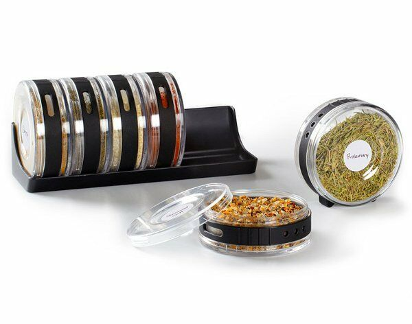 Umbra CYLINDRA SPICE RACK - Herb Jars Free Standing Mountable 6pc - BLACK CLEAR