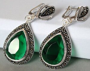 Faceted Emerald & Marcasite 925 STERLING SILVER EARRINGS 1 1/2