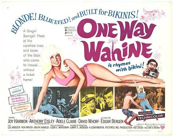 ONE WAY WAHINE 22x28 Sexy JOY HARMON/OAHU HAWAII/LANAKAI BEACH orig movie poster