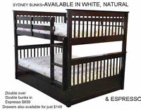 DOUBLE OVER DOUBLE BUNKBEDS-4 GREAT STYLES AT MIKES!