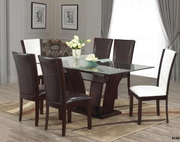 SALE ON NOW 7PCS GLASS DINING TABLE WOODEN BASE LOWEST PRICES GUARANTEED