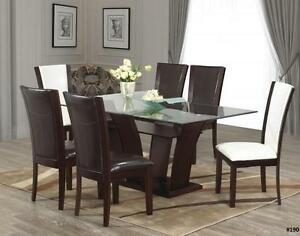 NEW YEARS SPECIALS ON NOW 7PCS GLASS DINING TABLE WOODEN BASE LOWEST PRICES GUARANTEED