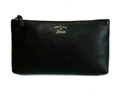 Authentic Gucci Vintage Black Leather Case Travel Cosmetic Clutch Pouch Bag WOW