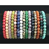 New! Wholesale Lot* 10 Genuine Gemstone 6mm Round Bead Stretch Bracelets
