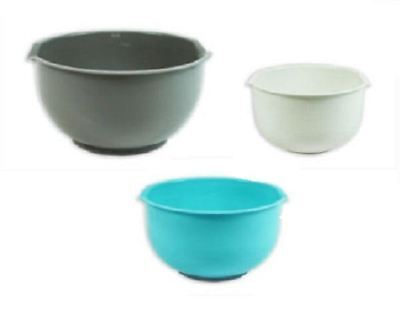 NEW PACK OF 3 MIXING BOWLS PLASTIC KITCHEN BAKING NON SLIP BASE CAKES RECIPE