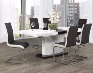 WHITE AND BLACK GLOSSY DINING TABLE SET SALE BRAMPTON HOME FURNITURE