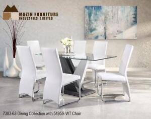 Modern Dining with white chairs - available online only (MA290)