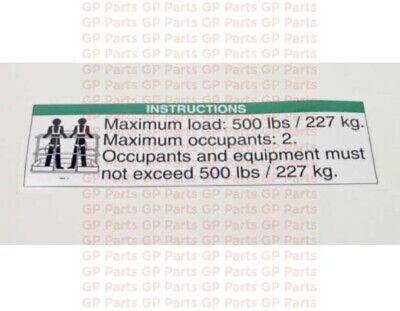 Genie 30080 Decal - Notice Max Load 500lbs S4045s6065s60xs60xcs60trax