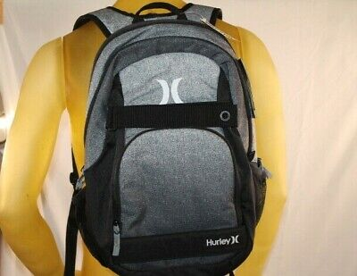 HURLEY HONOR ROLL BLACK/GRAY TRAVEL/BOOK/BEACH BACKPACK W/SKATE BOARD STRAPS