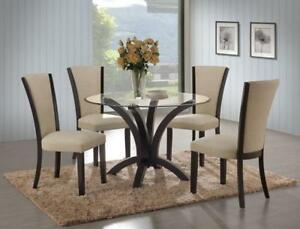 5pcs Glass Top Dinette With Fabric Chairs (ME1116)