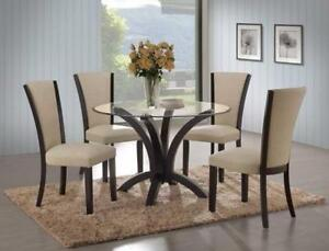 5PCS GLASS TOP DINETTE WITH FABRIC CHAIRS- LOWEST PRICE ON BLOCK FRIDAY - CALL 905-451-8999 (BF-55)