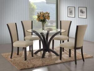 ROUND GLASS DINING TABLE SET (ME2235)