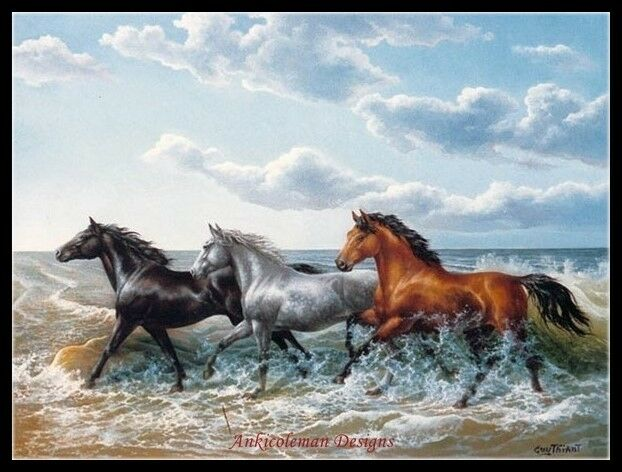 Horses Galloping - Chart Counted Cross Stitch Patterns Needl